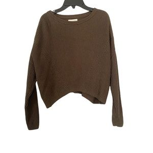 LA Hearts Army Green Cropped Knit Cotton Sweater